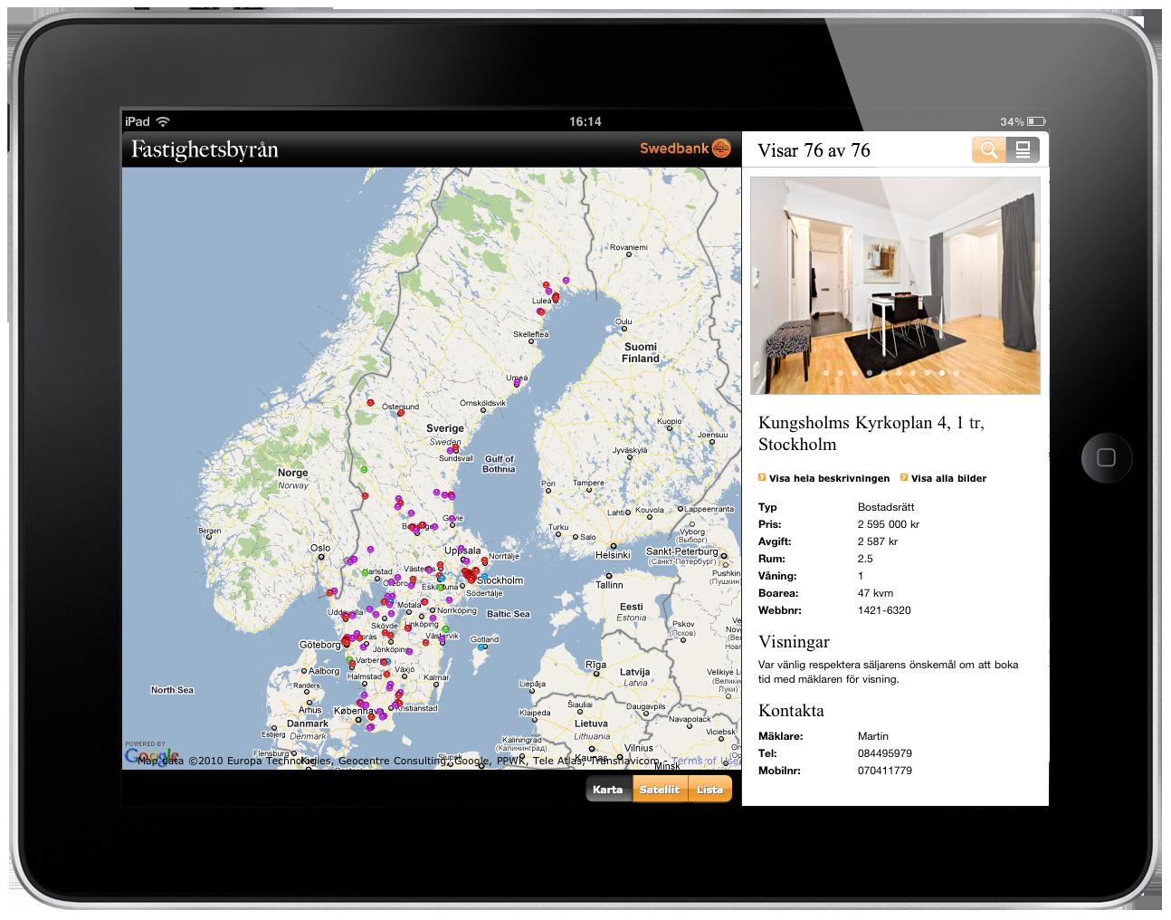 Fastighetsbyrån's iPad web app.