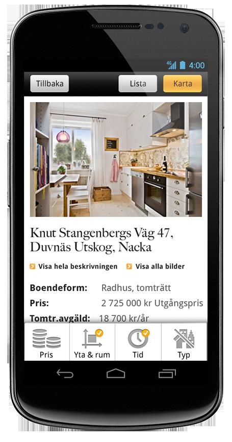 Fastighetsbyrån's Android web app.
